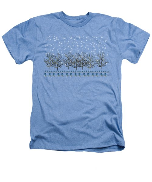 Winter Bluebirds In The Snow Heathers T-Shirt by Anne Kitzman