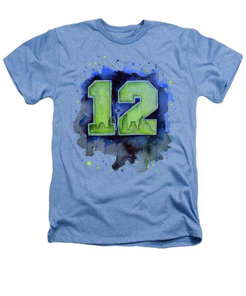 12th Man Seahawks Art Seattle Go Hawks Heathers T-Shirt by Olga Shvartsur