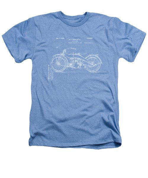 1924 Harley Motorcycle Patent Artwork Blueprint Heathers T-Shirt by Nikki Marie Smith
