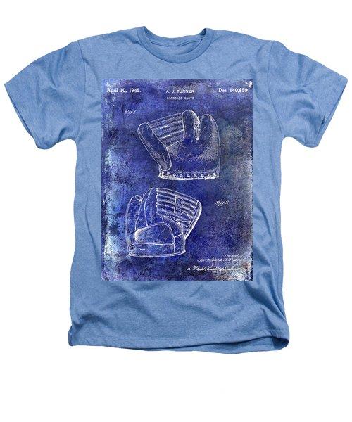 1945 Baseball Glove Patent Blue Heathers T-Shirt by Jon Neidert