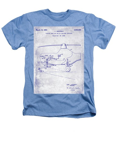 1953 Helicopter Patent Blueprint Heathers T-Shirt by Jon Neidert