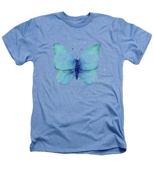 Blue Butterfly Watercolor Heathers T-Shirt