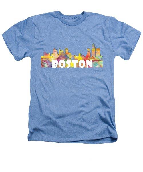 Boston Massachusetts Skyline Heathers T-Shirt by Marlene Watson