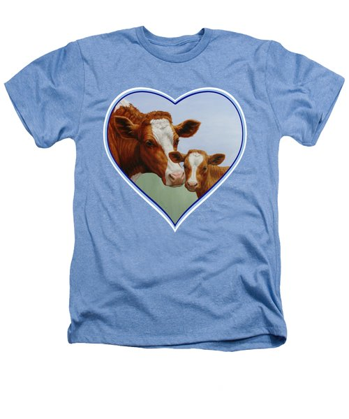 Cow And Calf Blue Heart Heathers T-Shirt by Crista Forest
