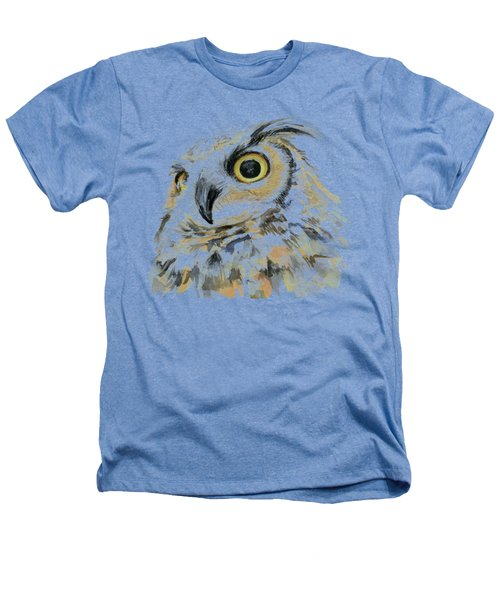 Great Horned Owl Watercolor Heathers T-Shirt