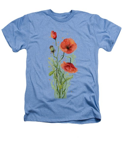 Red Poppies Watercolor Heathers T-Shirt