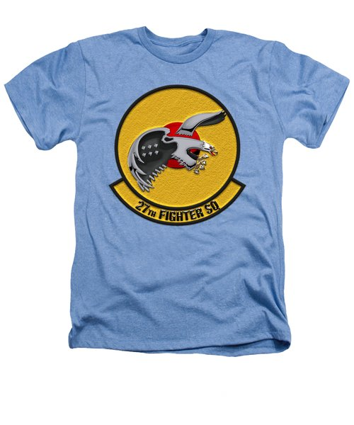 27th Fighter Squadron - 27 Fs Patch Over White Leather Heathers T-Shirt by Serge Averbukh