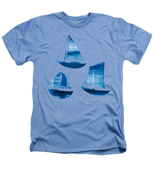 3 Little Blue Sailing Boats Heathers T-Shirt by Frank Tschakert
