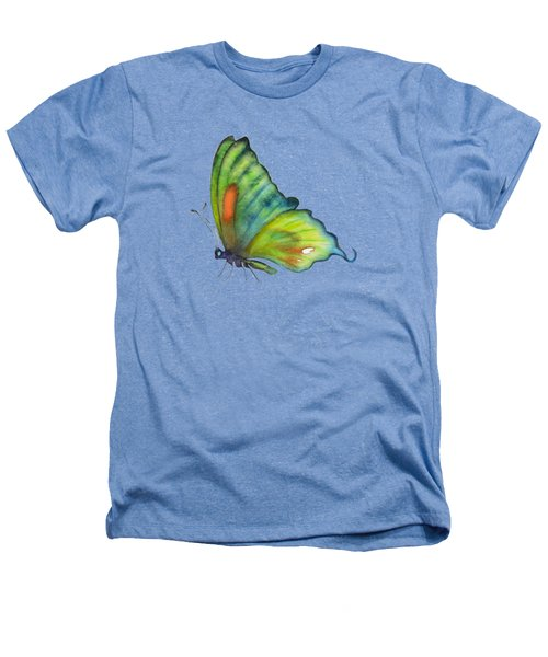 3 Perched Orange Spot Butterfly Heathers T-Shirt by Amy Kirkpatrick