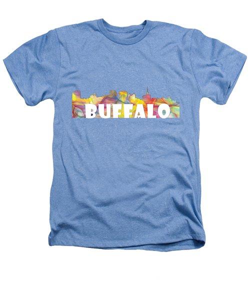 Buffalo New York Skyline Heathers T-Shirt by Marlene Watson