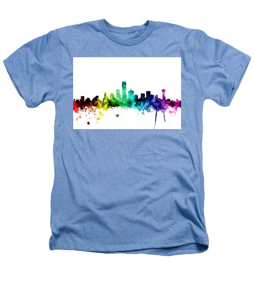Dallas Texas Skyline Heathers T-Shirt by Michael Tompsett