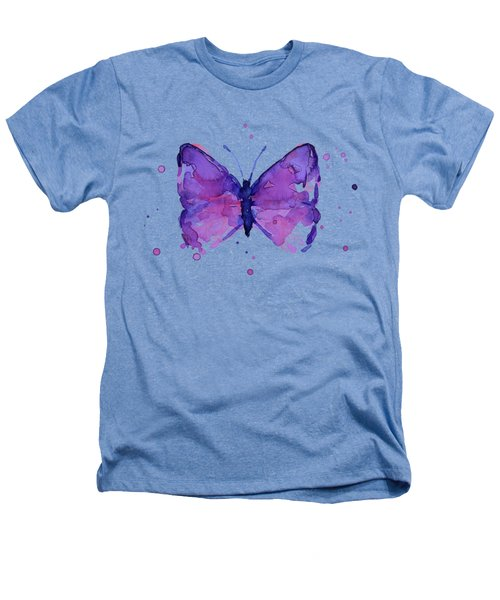 Abstract Purple Butterfly Watercolor Heathers T-Shirt