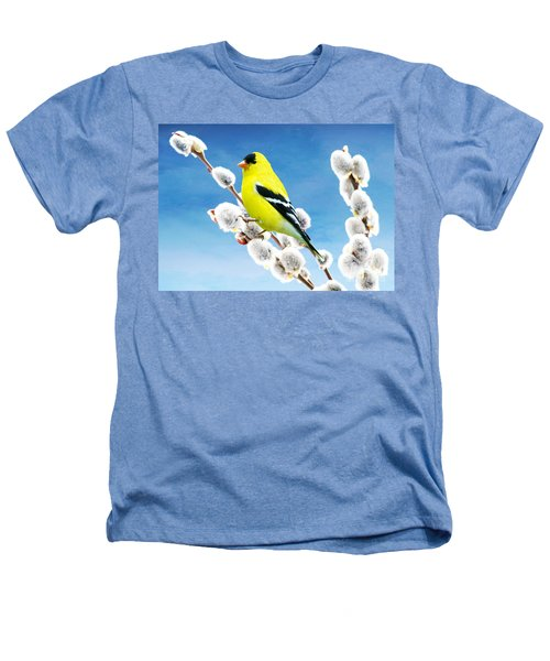 American Goldfinch Perched On Pussy Willow Heathers T-Shirt