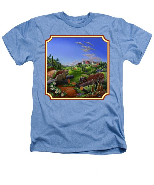 Americana Decor - Springtime On The Farm Country Life Landscape - Square Format Heathers T-Shirt