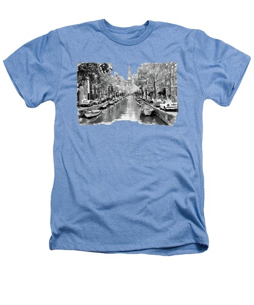 Amsterdam Canal 2 Black And White Heathers T-Shirt