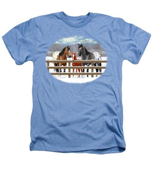 Appaloosa Horses In Winter Ranch Corral Heathers T-Shirt