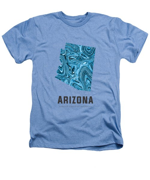 Arizona Map Art Abstract In Blue Heathers T-Shirt