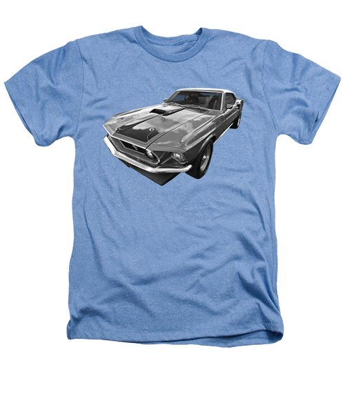 428 Cobra Jet Mach1 Ford Mustang 1969 In Black And White Heathers T-Shirt