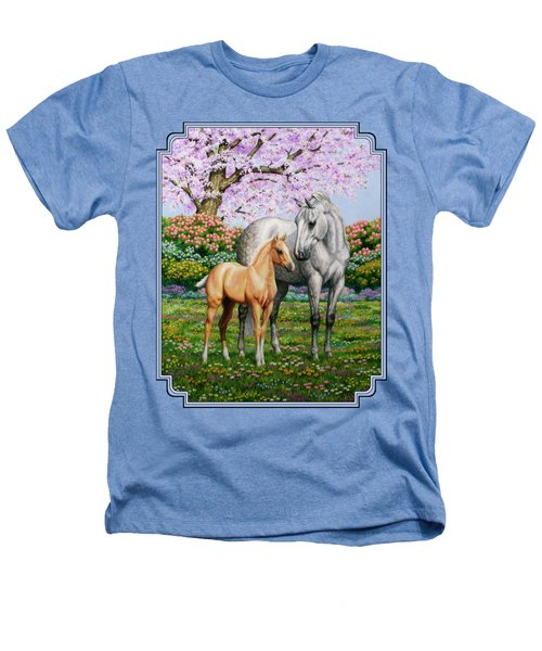 Spring's Gift - Mare And Foal Heathers T-Shirt by Crista Forest