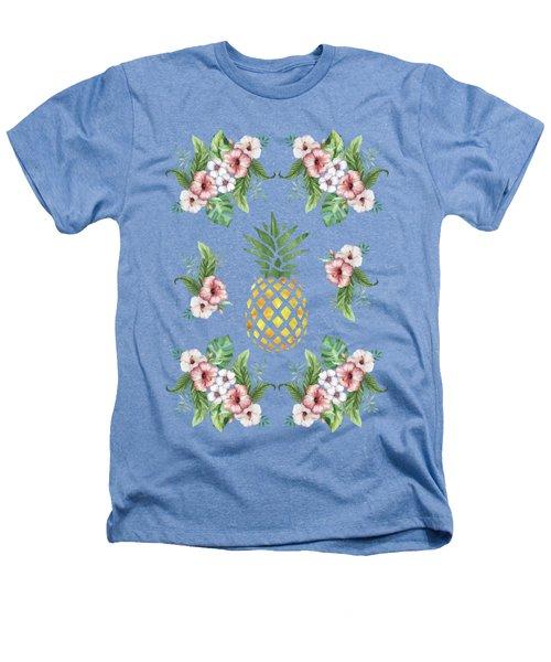 Exotic Hawaiian Flowers And Pineapple Heathers T-Shirt by Georgeta Blanaru
