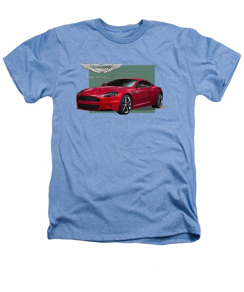 Aston Martin  D B S  V 12  With 3 D Badge  Heathers T-Shirt by Serge Averbukh