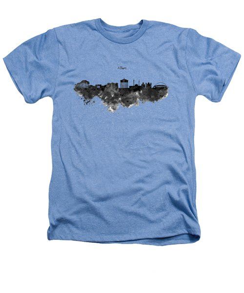 Athens Black And White Skyline Heathers T-Shirt by Marian Voicu