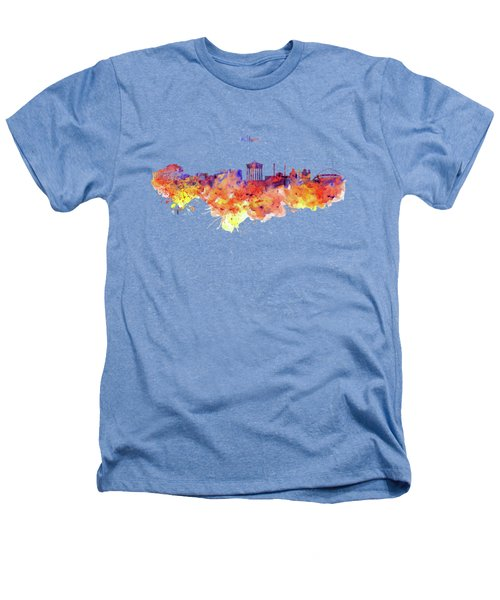 Athens Skyline Heathers T-Shirt by Marian Voicu