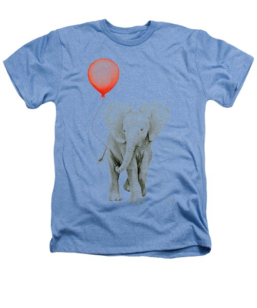 Baby Elephant Watercolor Red Balloon Heathers T-Shirt