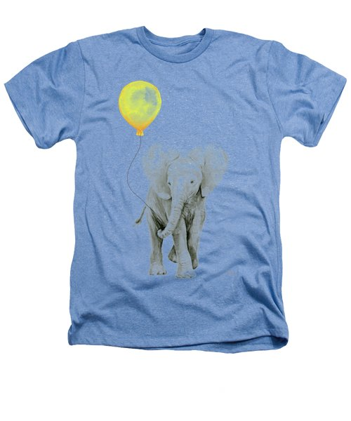 Baby Elephant Watercolor With Yellow Balloon Heathers T-Shirt