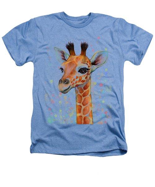 Baby Giraffe Watercolor  Heathers T-Shirt