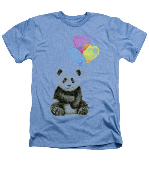 Baby Panda With Heart-shaped Balloons Heathers T-Shirt by Olga Shvartsur