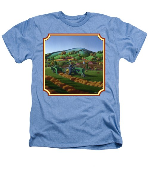 Baling Hay Field - John Deere Tractor - Farm Country Landscape Square Format Heathers T-Shirt
