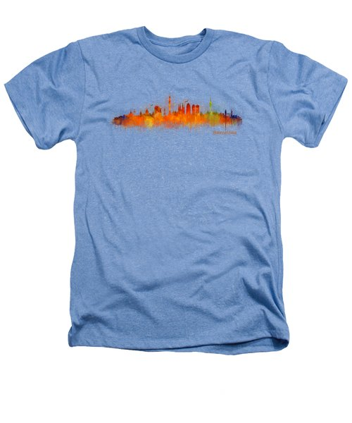 Barcelona City Skyline Hq _v3 Heathers T-Shirt by HQ Photo