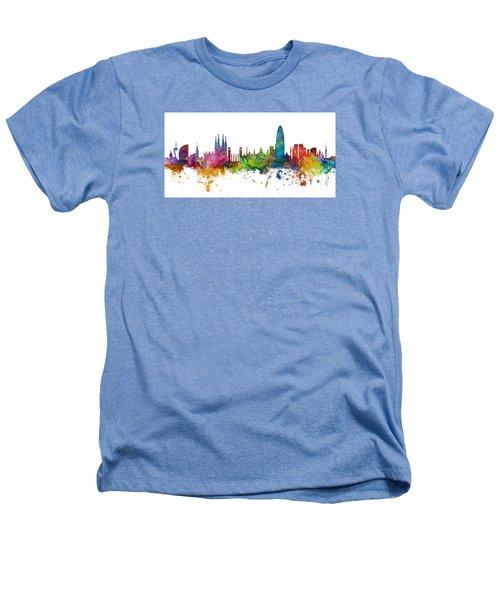 Barcelona Spain Skyline Panoramic Heathers T-Shirt