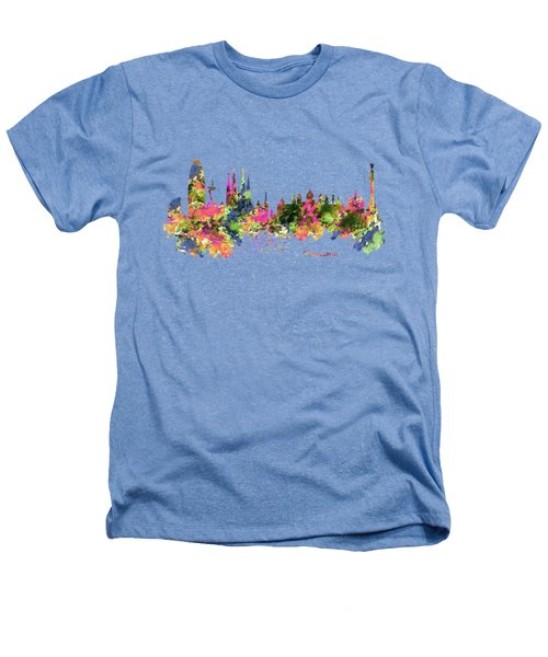 Barcelona Watercolor Skyline Heathers T-Shirt by Marian Voicu