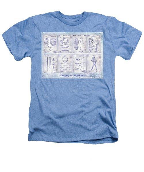 Baseball Patent History Blueprint Heathers T-Shirt
