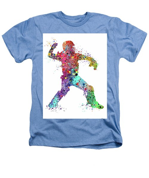 Baseball Softball Catcher 3 Watercolor Print Heathers T-Shirt
