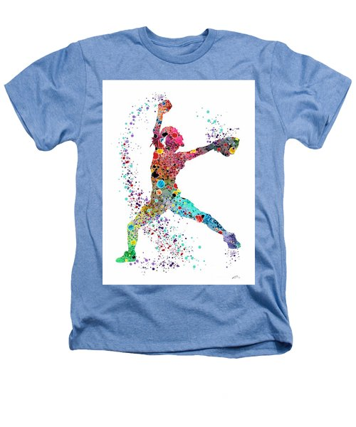 Baseball Softball Pitcher Watercolor Print Heathers T-Shirt by Svetla Tancheva