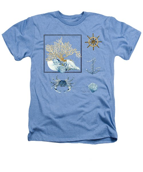 Beach House Nautical Seashells Ships Wheel Anchor N Crab Heathers T-Shirt by Audrey Jeanne Roberts
