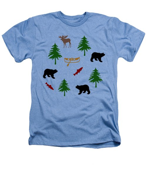 Bear Moose Pattern Heathers T-Shirt by Christina Rollo