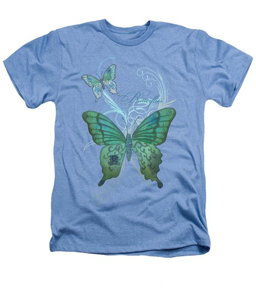 Beautiful Butterflies N Swirls Modern Style Heathers T-Shirt by Audrey Jeanne Roberts
