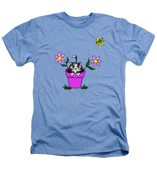 Big Eyed Kitten In Flower Pot Heathers T-Shirt by Lorraine Kelly