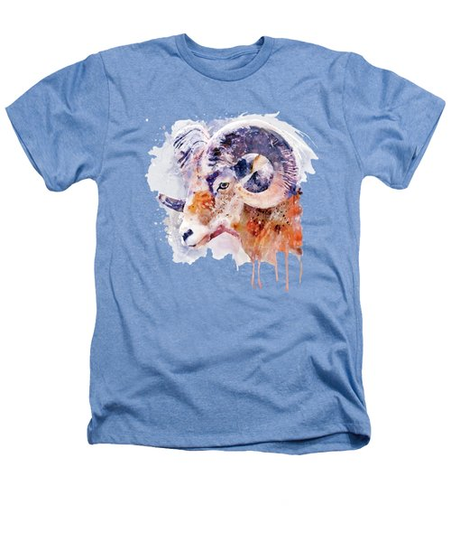 Bighorn Sheep Watercolor Portrait Heathers T-Shirt