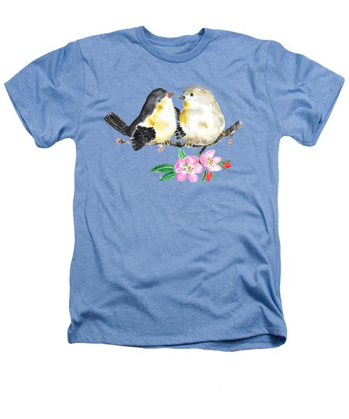 Birds And Apple Blossom Heathers T-Shirt by Color Color