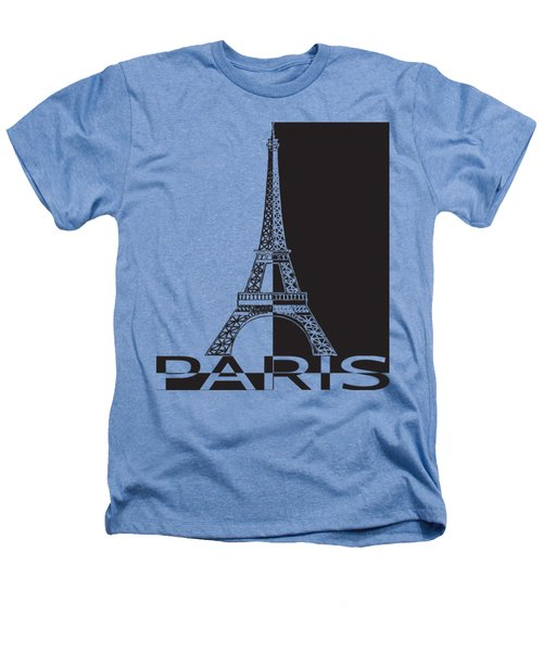 Black And White Eiffel Tower Heathers T-Shirt by Yurii Perepadia