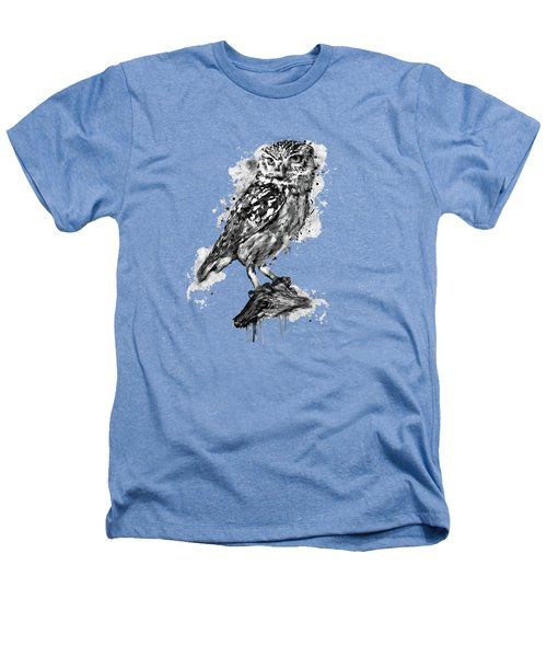 Black And White Owl Heathers T-Shirt by Marian Voicu