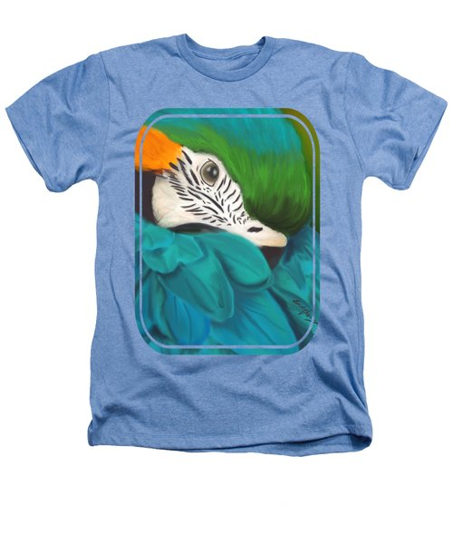 Blue And Gold Macaw Heathers T-Shirt by Becky Herrera