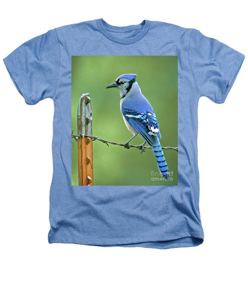 Blue Jay On The Fence Heathers T-Shirt