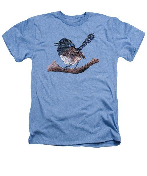 Blue Zen Wren Paisley Bird Heathers T-Shirt by Lorraine Kelly