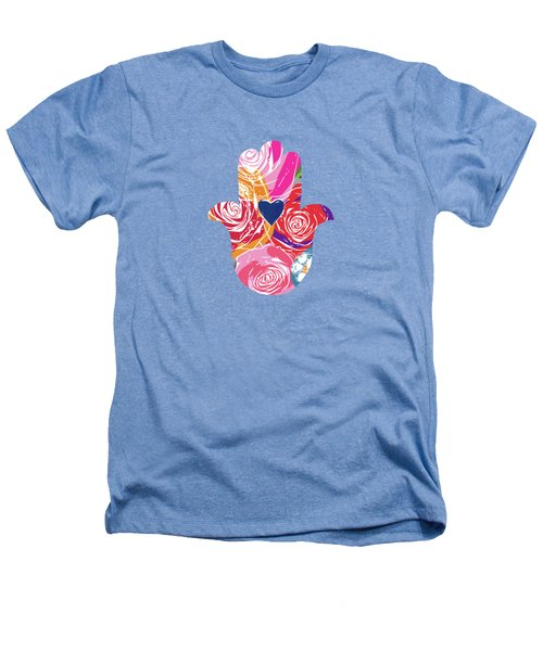 Bold Floral Hamsa- Art By Linda Woods Heathers T-Shirt by Linda Woods